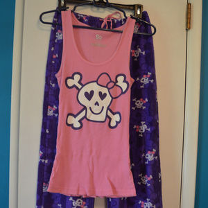 Fleece Purple and Pink Skull PJ Set
